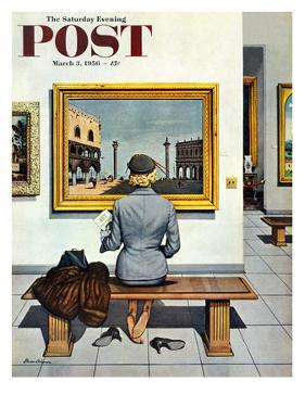 """""""Art Lover"""" Saturday Evening Post Cover, March 3, 1956 by Stevan Dohanos"""