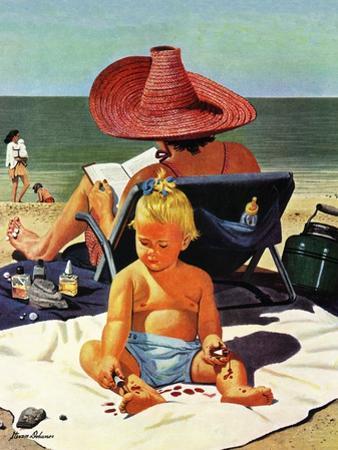 """""""Baby & Nail Polish"""", July 22, 1950 by Stevan Dohanos"""