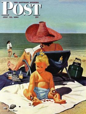 """Baby & Nail Polish"" Saturday Evening Post Cover, July 22, 1950 by Stevan Dohanos"