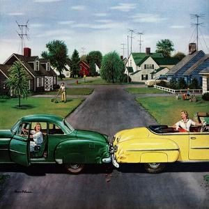 """""""Backup Collision"""", August 4, 1956 by Stevan Dohanos"""