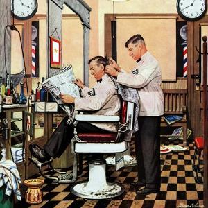 """Barber Getting Haircut,"" January 26, 1946 by Stevan Dohanos"
