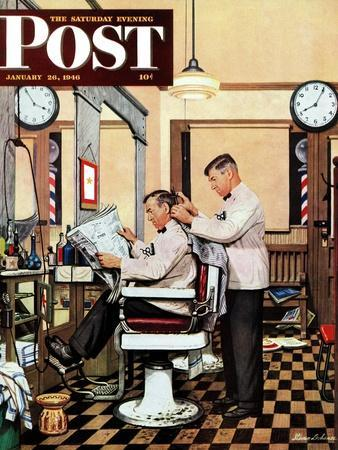 """""""Barber Getting Haircut,"""" Saturday Evening Post Cover, January 26, 1946"""