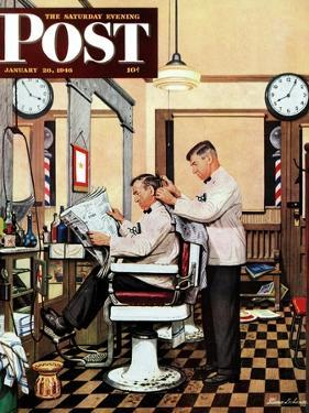 """Barber Getting Haircut,"" Saturday Evening Post Cover, January 26, 1946 by Stevan Dohanos"