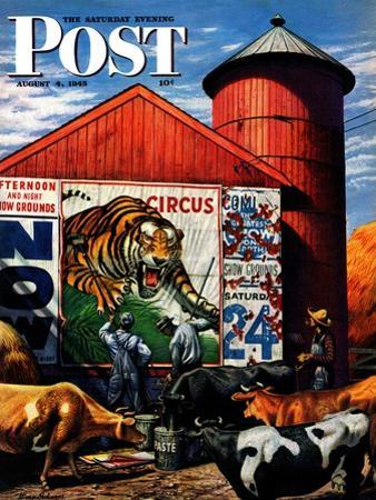 """""""Barnside Circus Poster,"""" Saturday Evening Post Cover, August 4, 1945 by Stevan Dohanos"""