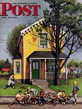 """""""Baseball Player Mowing the Lawn,"""" Saturday Evening Post Cover, July 20, 1946 by Stevan Dohanos"""