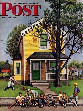 """Baseball Player Mowing the Lawn,"" Saturday Evening Post Cover, July 20, 1946 by Stevan Dohanos"