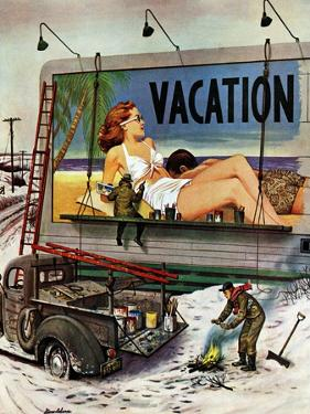"""Billboard Painters in Winter,"" February 14, 1948 by Stevan Dohanos"