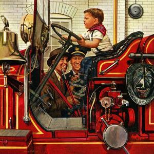 """Boy on Fire Truck"", November 14, 1953 by Stevan Dohanos"