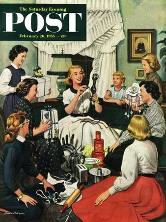 """Bridal Shower"" Saturday Evening Post Cover, February 26, 1955 by Stevan Dohanos"