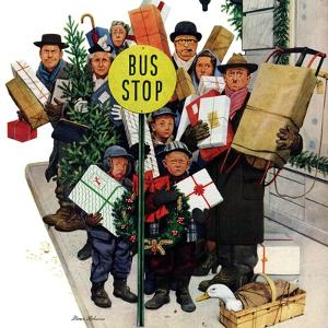 """Bus Stop at Christmas"", December 13, 1952 by Stevan Dohanos"