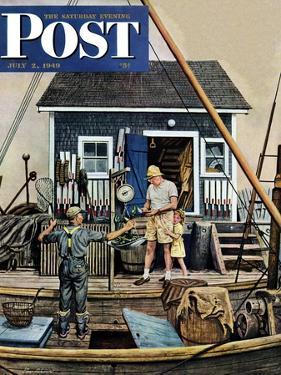 """Buying Lobsters,"" Saturday Evening Post Cover, July 2, 1949 by Stevan Dohanos"