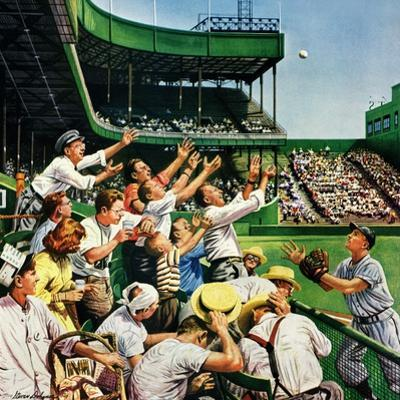 """""""Catching Home Run Ball"""", April 22, 1950 by Stevan Dohanos"""