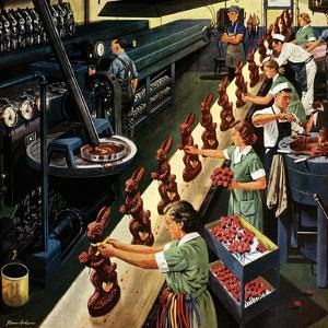 """""""Chocolate Easter Bunnies"""", March 25, 1950 by Stevan Dohanos"""