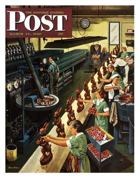 """""""Chocolate Easter Bunnies"""" Saturday Evening Post Cover, March 25, 1950 by Stevan Dohanos"""