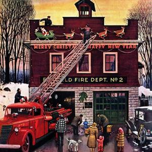 """""""Christmas at the Fire Station"""", December 16, 1950 by Stevan Dohanos"""