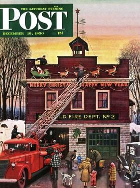 """""""Christmas at the Fire Station"""" Saturday Evening Post Cover, December 16, 1950 by Stevan Dohanos"""