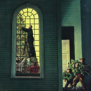 """Church Christmas Tree"", December 27, 1952 by Stevan Dohanos"