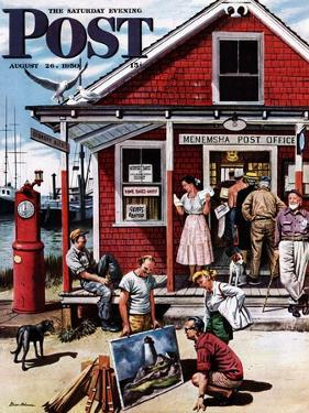 """""""Coastal Postal Office"""" Saturday Evening Post Cover, August 26, 1950 by Stevan Dohanos"""