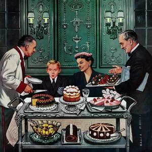 """Dessert Cart"", January 1, 1955 by Stevan Dohanos"