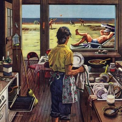 """Doing Dishes at the Beach"", July 19, 1952 by Stevan Dohanos"