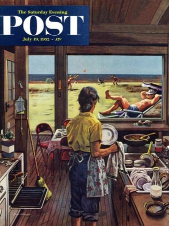 """Doing Dishes at the Beach"" Saturday Evening Post Cover, July 19, 1952 by Stevan Dohanos"