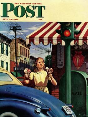 """""""Dripping Cones,"""" Saturday Evening Post Cover, July 29, 1944 by Stevan Dohanos"""