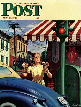 """""""Dripping Cones,"""" Saturday Evening Post Cover, July 29, 1944"""