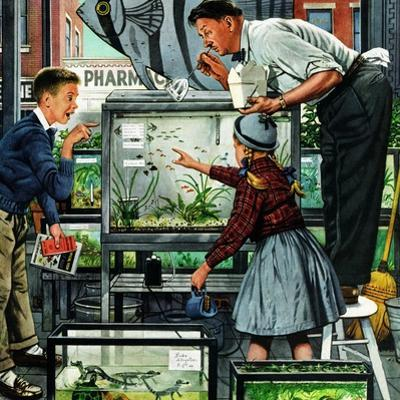 """Fish Aquarium"", October 30, 1954 by Stevan Dohanos"