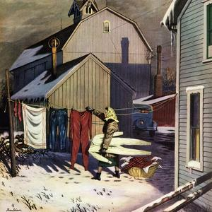 """Frozen Laundry"", March 8, 1952 by Stevan Dohanos"