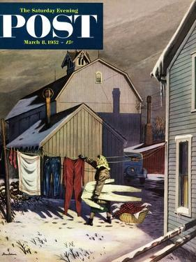 """""""Frozen Laundry"""" Saturday Evening Post Cover, March 8, 1952 by Stevan Dohanos"""