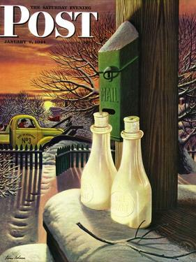 """""""Frozen Milk,"""" Saturday Evening Post Cover, January 8, 1944 by Stevan Dohanos"""