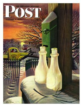 """Frozen Milk,"" Saturday Evening Post Cover, January 8, 1944 by Stevan Dohanos"