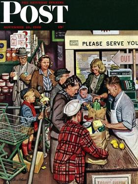 """Grocery LIne,"" Saturday Evening Post Cover, November 13, 1948 by Stevan Dohanos"