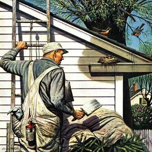 """Housepainter and Bird's Nest,"" May 12, 1945 by Stevan Dohanos"