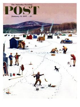 """Ice Fishing Camp"" Saturday Evening Post Cover, January 12, 1957 by Stevan Dohanos"