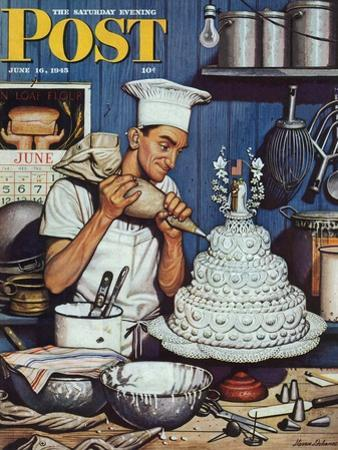 """""""Icing the Wedding Cake,"""" Saturday Evening Post Cover, June 16, 1945 by Stevan Dohanos"""