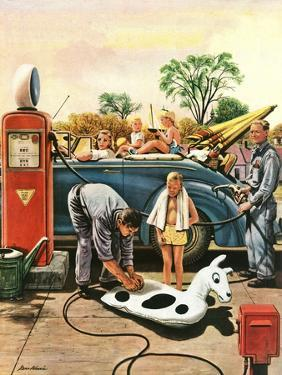 """""""Inflating Beach Toy,"""" August 20, 1949 by Stevan Dohanos"""