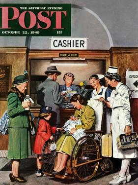 """""""Leaving the Hospital,"""" Saturday Evening Post Cover, October 22, 1949 by Stevan Dohanos"""