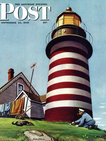 """Lighthouse Keeper,"" Saturday Evening Post Cover, September 22, 1945 by Stevan Dohanos"