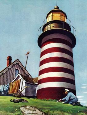 """""""Lighthouse Keeper,"""" September 22, 1945 by Stevan Dohanos"""