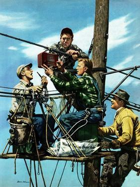 """Linemen Listen to World Series"", October 4, 1952 by Stevan Dohanos"