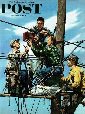"""""""Linemen Listen to World Series"""" Saturday Evening Post Cover, October 4, 1952 by Stevan Dohanos"""