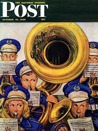 """""""March Band at Football Game,"""" Saturday Evening Post Cover, October 19, 1946"""