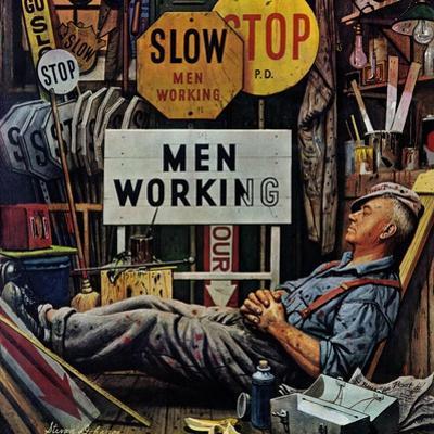 """Men Working,"" April 12, 1947 by Stevan Dohanos"