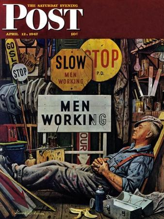 """Men Working,"" Saturday Evening Post Cover, April 12, 1947 by Stevan Dohanos"