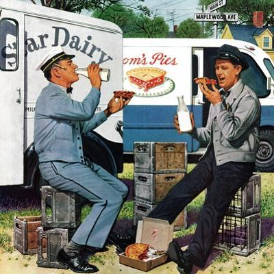 """Milkman Meets Pieman"", October 11, 1958 by Stevan Dohanos"