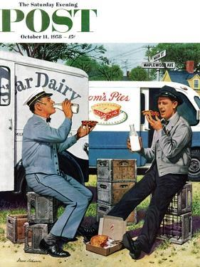 """Milkman Meets Pieman"" Saturday Evening Post Cover, October 11, 1958 by Stevan Dohanos"