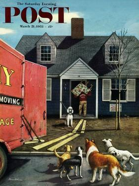 """""""New Dog in Town"""" Saturday Evening Post Cover, March 21, 1953 by Stevan Dohanos"""