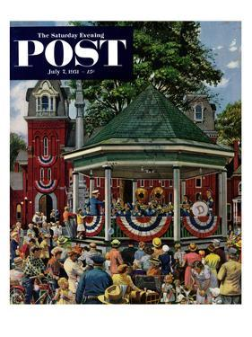 """Patriotic Band Concert"" Saturday Evening Post Cover, July 7, 1951 by Stevan Dohanos"