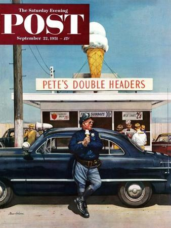 """""""Pete's Double Headers"""" Saturday Evening Post Cover, September 22, 1951 by Stevan Dohanos"""
